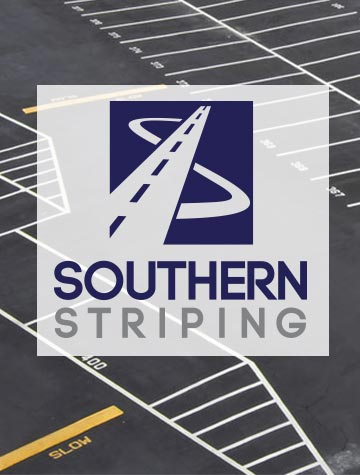 Southern Striping logo on top of striped parking lot - Southern Striping, LLC