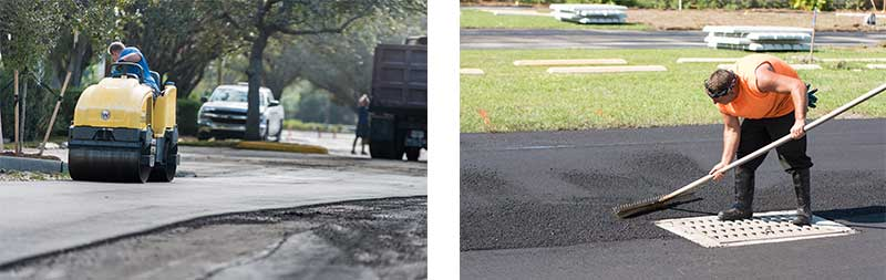 Asphalt repair using steel roller and repair tools - Southern Striping, LLC