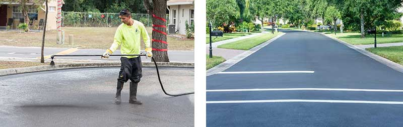 Sealcoating asphalt on road - Southern Striping, LLC