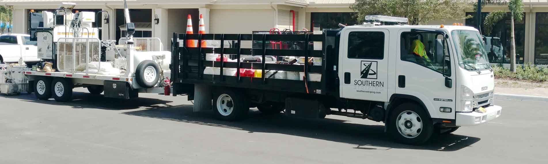 Southern Striping striping, sealcoating and asphalt repair service truck - Southern Striping, LLC