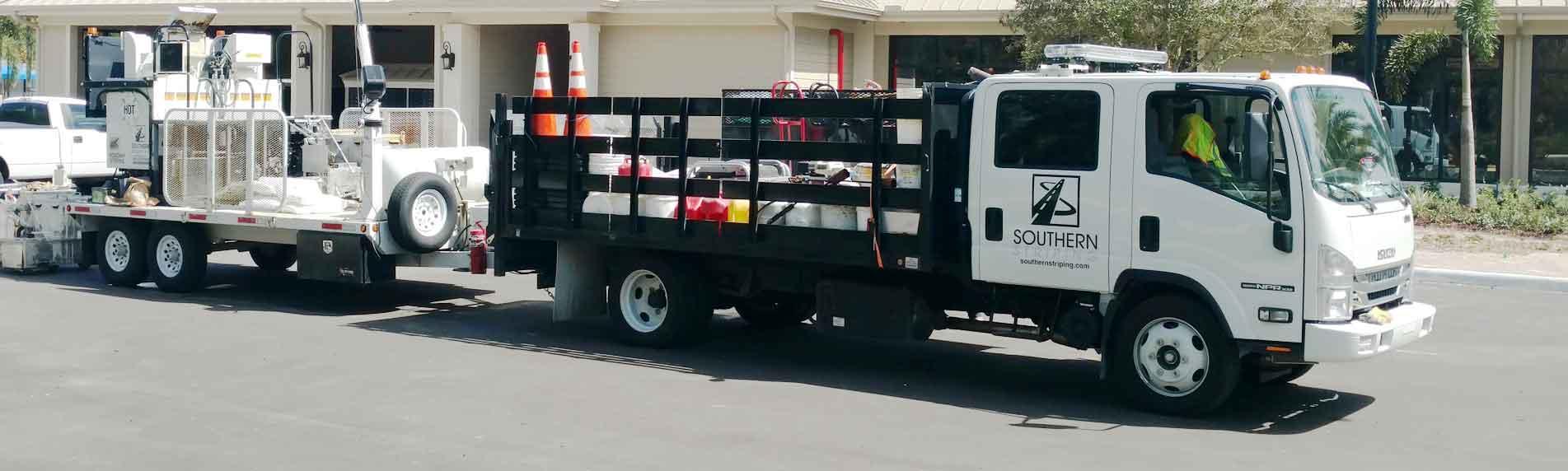 Southern Striping striping, sealcoating and asphalt repair service truck - Southern Striping, LLC